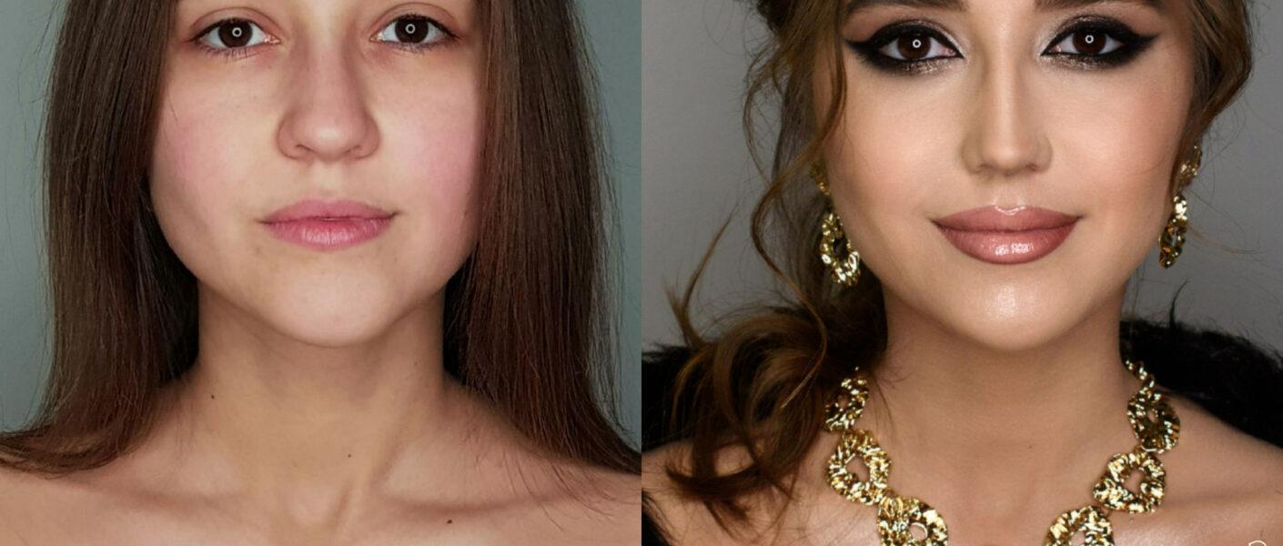"Фото девушки до и после макияжа, прически. Визажист - Диана Кулькова Style Wizard, модель - Кристина из шоу ""Киев днём и ночью"""